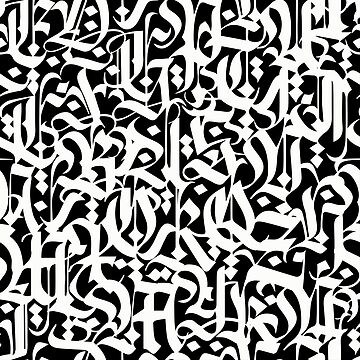 calligraphy pattern 5 - white on black design - abstract  typography  by ohaniki