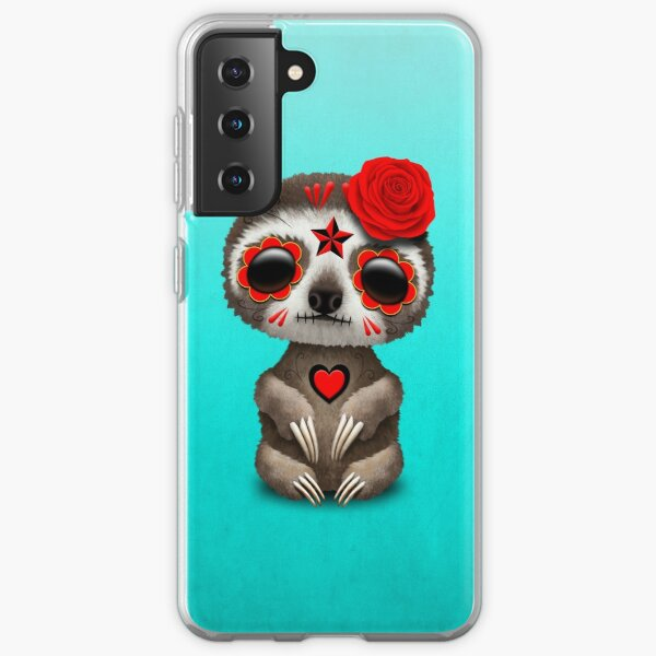 Red Day of the Dead Sugar Skull Baby Sloth Samsung Galaxy Soft Case