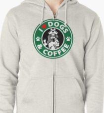 Sudadera con capucha y cremallera Amo los perros y el café - Parodia del café de Starbucks