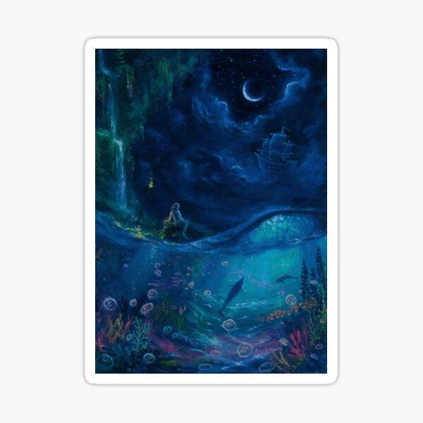 Waiting-- Mermaid Underwater Scene Sticker