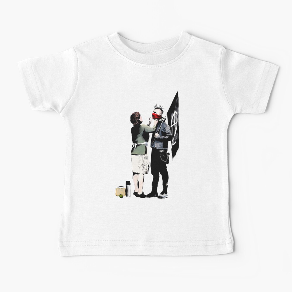 Banksy, Anarchist Punk And His Mother Artwork, Posters, Prints, Bags, Tshirts, Men, Women, Kids Baby T-Shirt