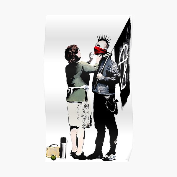 Banksy, Anarchist Punk and His Mother Artwork, Affiches, Impressions, Sacs, T-shirts, Hommes, Femmes, Enfants Poster