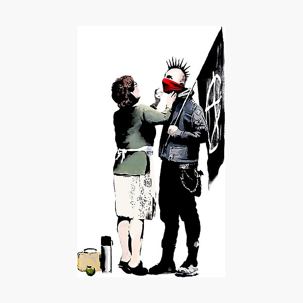 Banksy, Anarchist Punk And His Mother Artwork, Posters, Prints, Bags, Tshirts, Men, Women, Kids Photographic Print