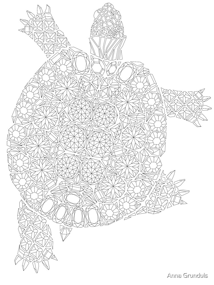 - Gemstone Turtle Coloring Page, Gems Pattern Adult Coloring, Adult Coloring  Book Turtle