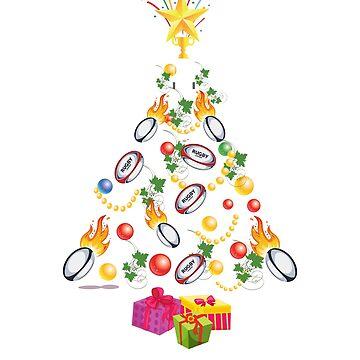 Christmas Tree T-Shirt English Rugby Union & League Christmas Gift Top & Xmas Sticker by thehadgaddad