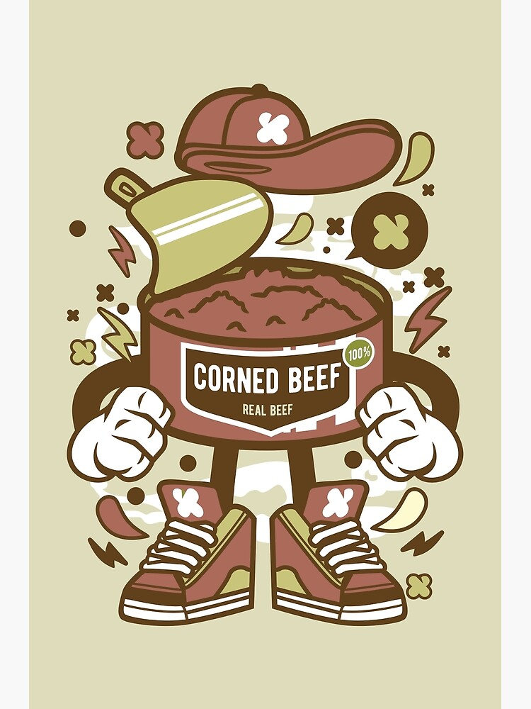 corned beef cartoon character fun illustration for corned beef lovers greeting card by nickelparis redbubble redbubble