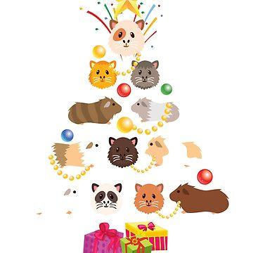 Guinea Pig Christmas Shirt Cute Christmas Tree Kids Gift T-Shirt Sticker & Xmas Mug by thehadgaddad