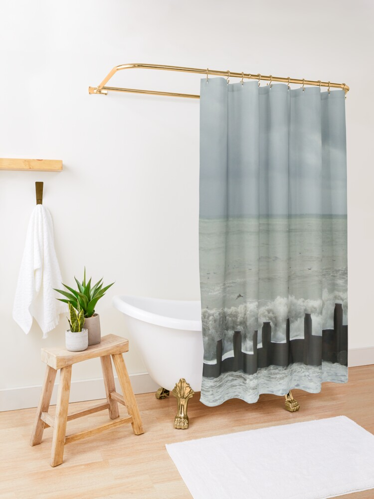Alternate view of Stormy Weather at Eastbourne - East Sussex - UK Shower Curtain