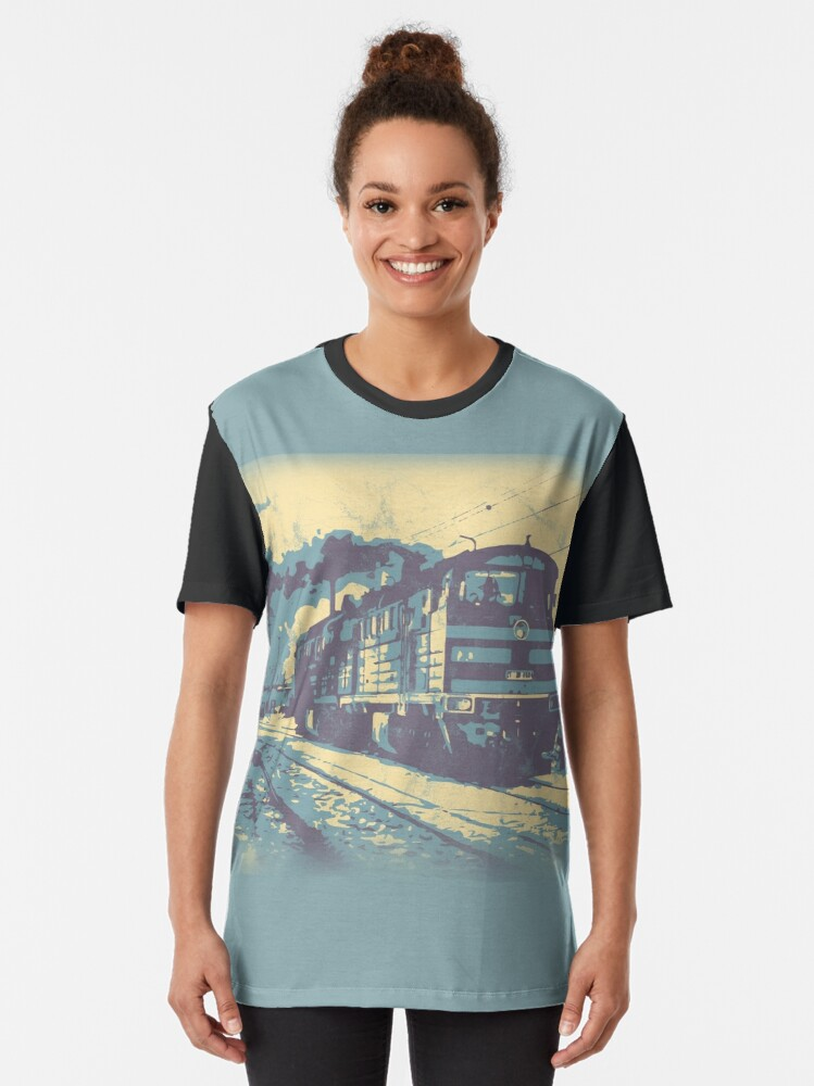 Alternate view of Three Colour Railway Train Graphic T-Shirt