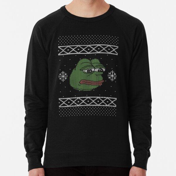 MonkaS Sad Pepe Meme Ugly Christmas Sweater Lightweight Sweatshirt