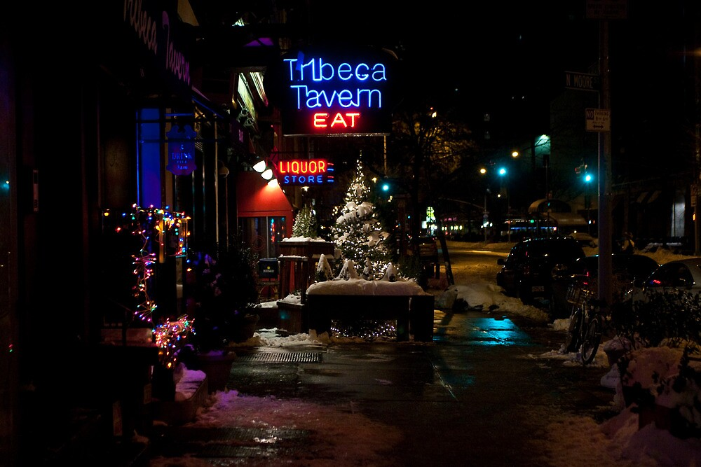 Christmas and Neon--Snowy Sidewalk in TriBeCa by Dave Bledsoe