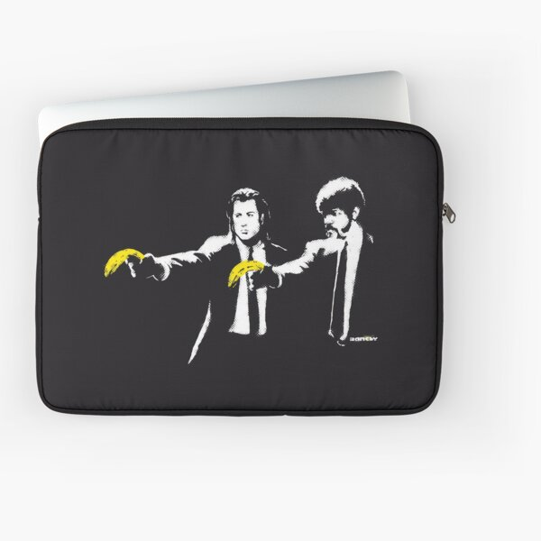 Banksy graffiti Pulp Fiction parody with bananas on Black background with grunge texture HD HIGH QUALITY ONLINE STORE Laptop Sleeve
