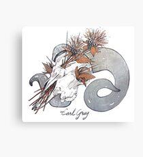 MorbidiTea - Earl Grey with Ram Skull Metal Print