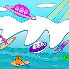 Aliens Go Surfing by Barefoot Bodeez  Art