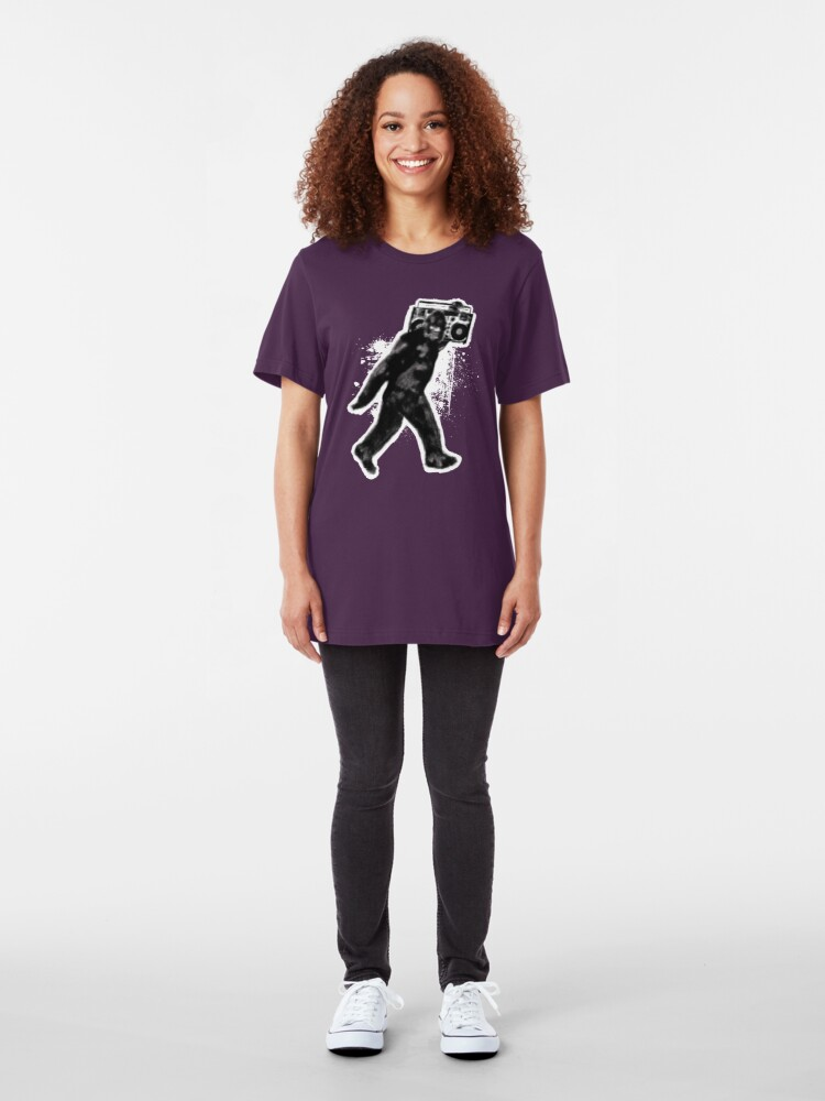 Alternate view of Bigfoot Sasquatch Yeti Boombox Dance Slim Fit T-Shirt