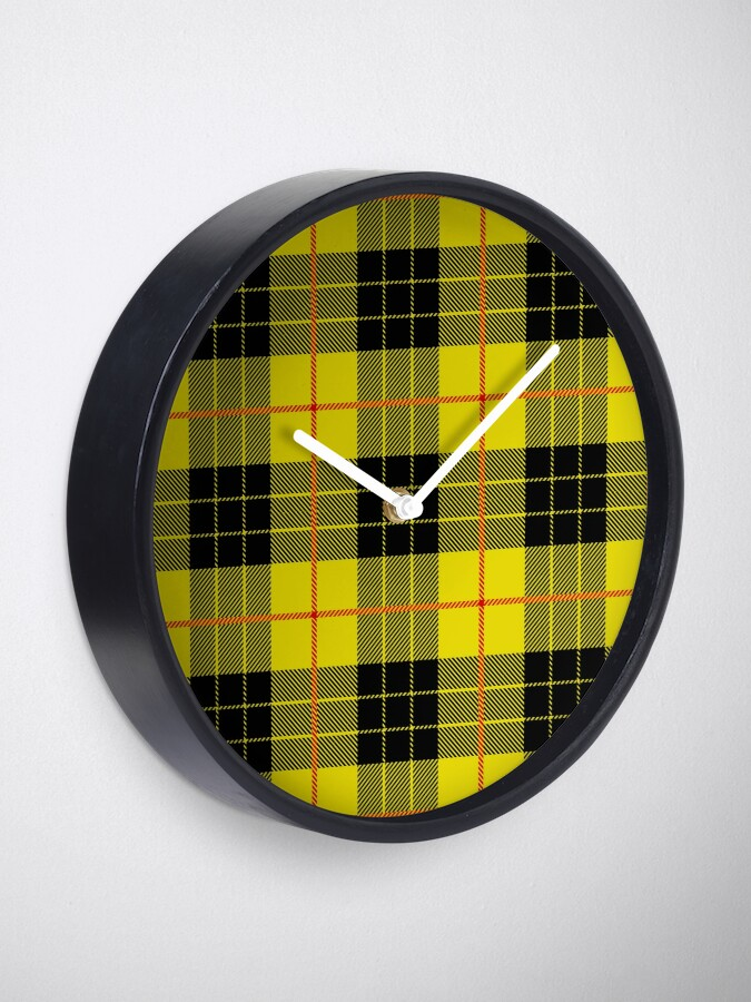Alternate view of Black and yellow plaid Clock