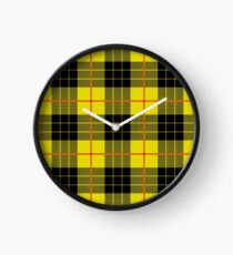 Black and yellow plaid Clock