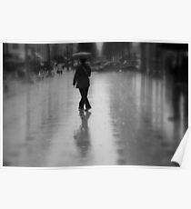 Dancing in the rain on the Champs-Élysées (Paris, France) Poster