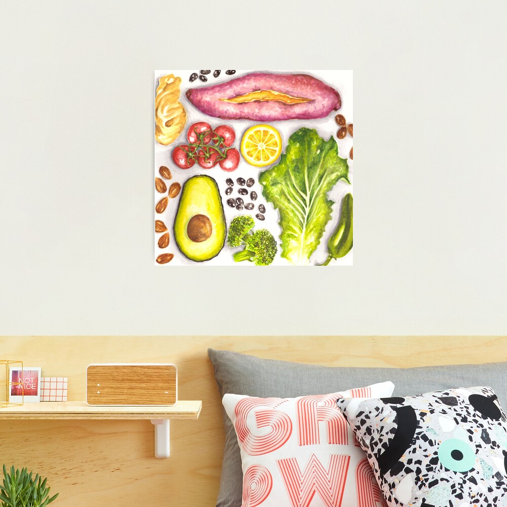 Watercolor Healthy Food  Photographic Print