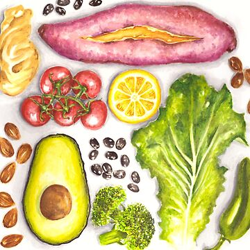 Watercolor Healthy Food  by erika-lancaster