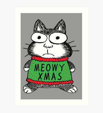 Meowy Xmas Christmas Cat Lámina artística