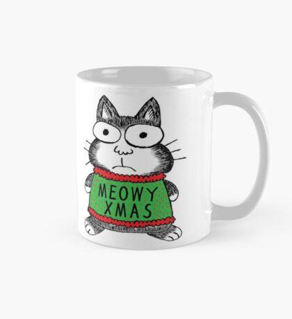 Meowy Xmas Christmas Cat Taza