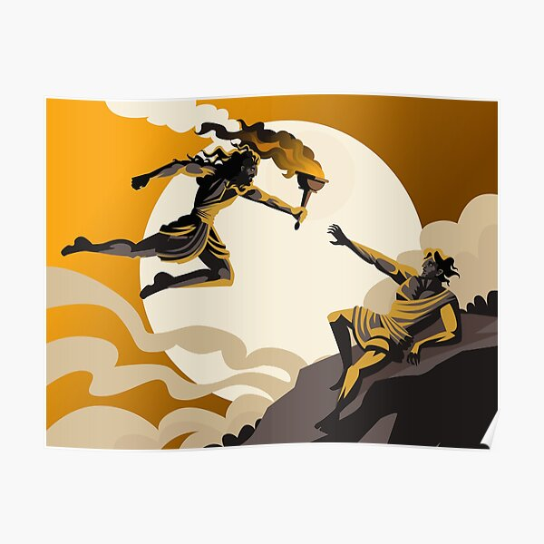 prometheus stealing fire greek mythology Poster