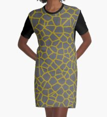 Staklo (Gray/Gold) Graphic T-Shirt Dress