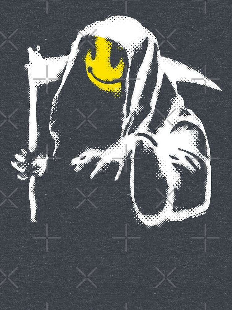 Banksy graffiti Grim reaper with smiley face yellow and black background HD HIGH QUALITY ONLINE STORE by iresist