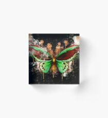 Butterfly green realistic watercolor painted Acrylic Block