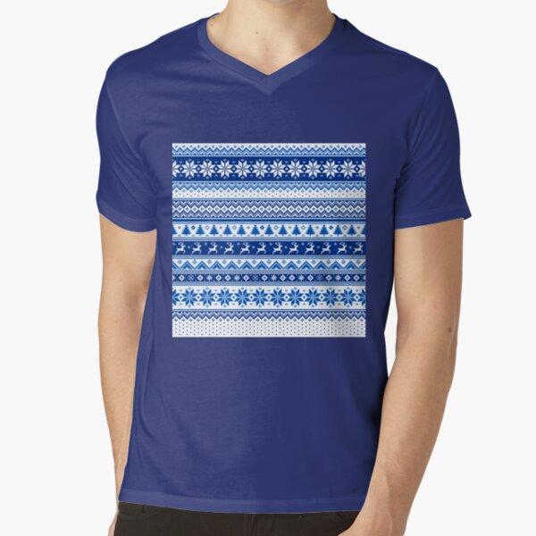 Nordic - Scandinavian Winter Blue V-Neck T-Shirt