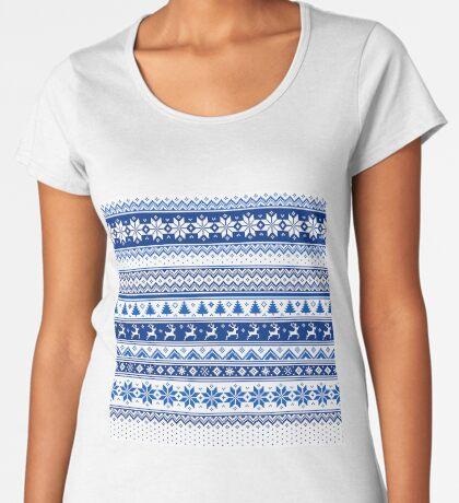 Nordic - Scandinavian Winter Blue Women's Premium T-Shirt