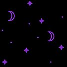 Purple Crescent Moons and Stars by alienfolklore