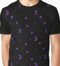 Purple Crescent Moons and Stars Graphic T-Shirt