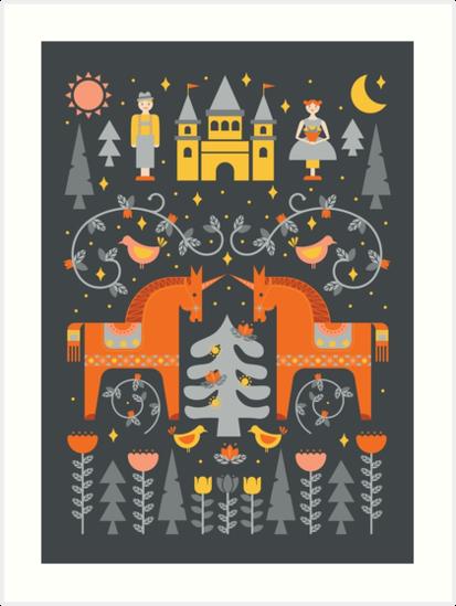 Skandinavisches Märchen Grau + Orange von latheandquill