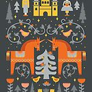 Scandinavian Fairy Tale Gray + Orange by latheandquill
