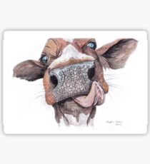 Cow Licking Lips Sticker