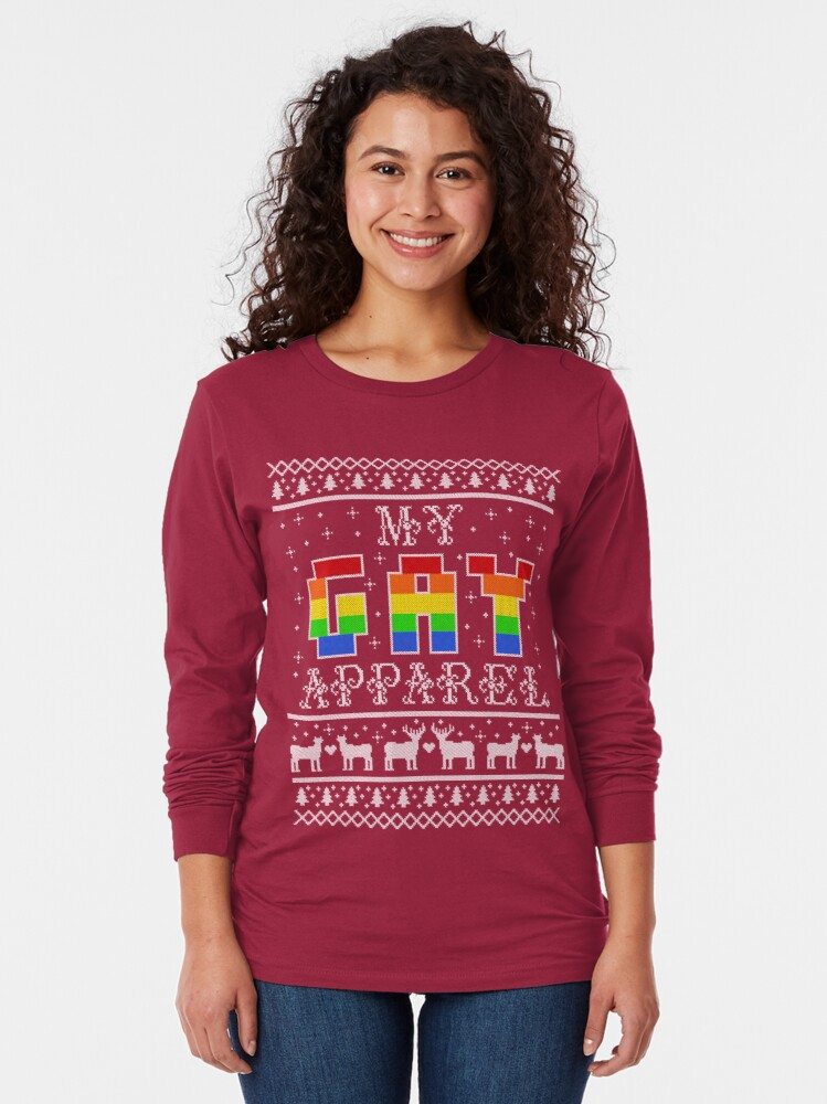 Alternate view of My Gay Apparel Holiday Sweater Long Sleeve T-Shirt