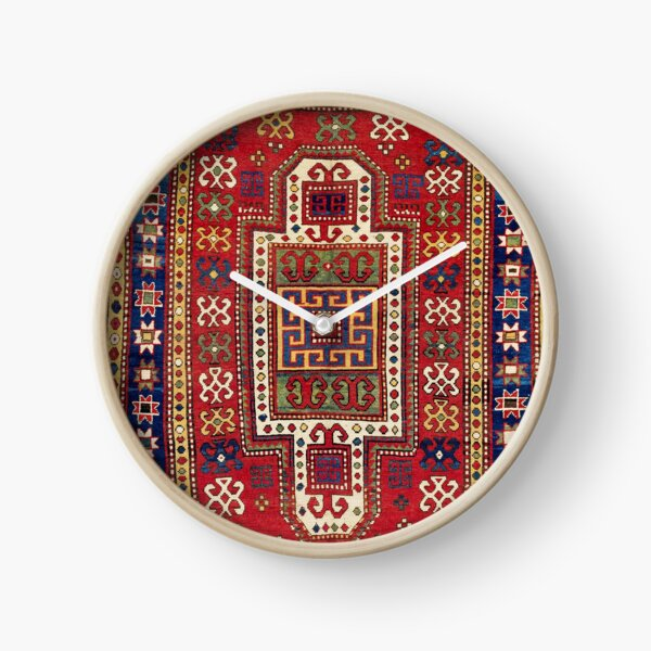 Kazak Antique West Caucasus Shield Rug Print Clock