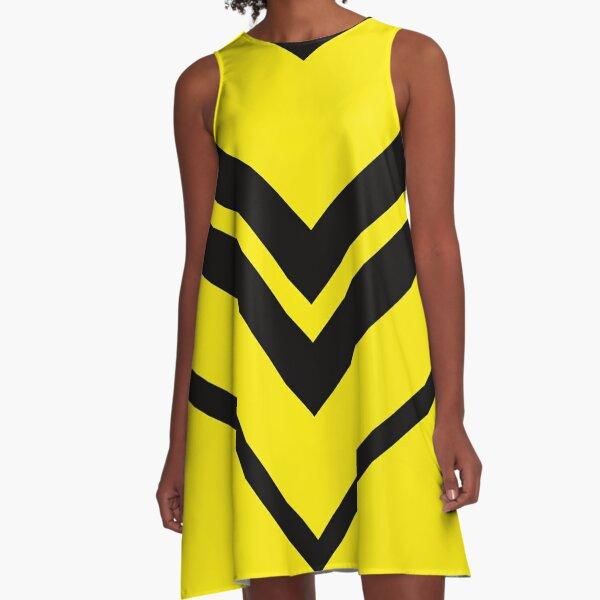 Gelb Schwarz Geometrisches Muster A-Linien Kleid