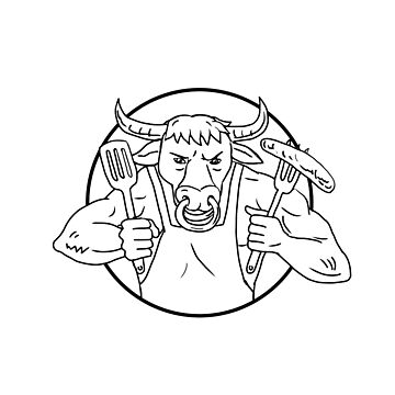 Longhorn Bull Holding Barbecue Sausage Drawing Black and White by patrimonio