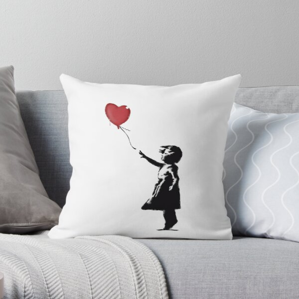 Banksy Girl with heart balloon graffiti street art Balloon Girl HD HIGH QUALITY ONLINE STORE Throw Pillow