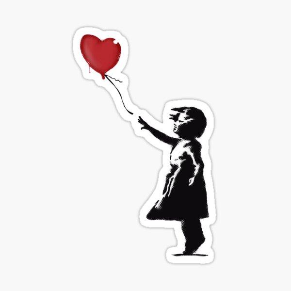 Banksy Girl with heart balloon graffiti street art Balloon Girl HD HIGH QUALITY ONLINE STORE Sticker