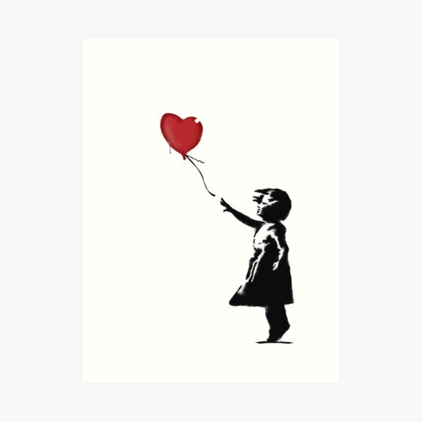Banksy Girl with heart balloon graffiti street art Balloon Girl HD HIGH QUALITY ONLINE STORE Art Print