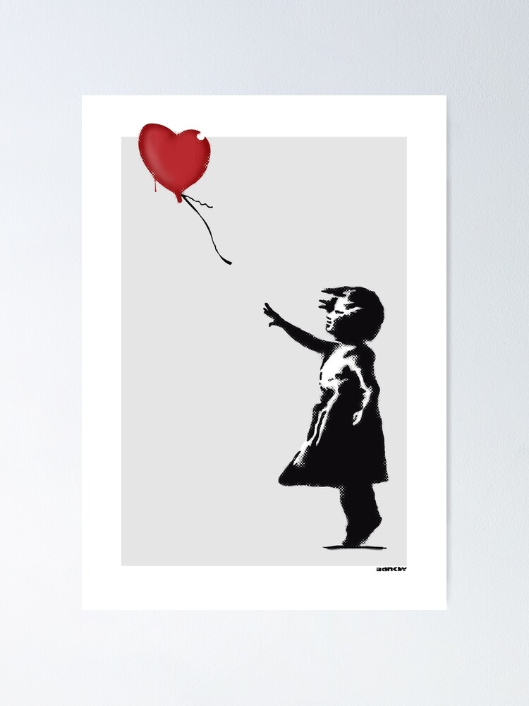 Banksy Street Artist Girl with Red Balloon 2 Print A4 A3 A2 A1