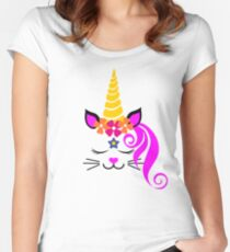 Caticorn Kitty Face Love Fitted Scoop T-Shirt