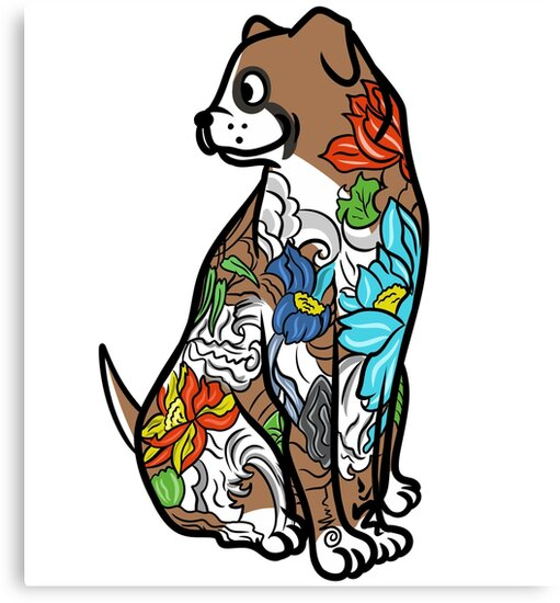 Lienzos Tatuaje Artístico Del Perro Boxer De Ilovepaws Redbubble