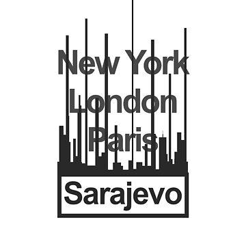 Bosnia and Herzegovina Sarajevo City Text design by GetItGiftIt