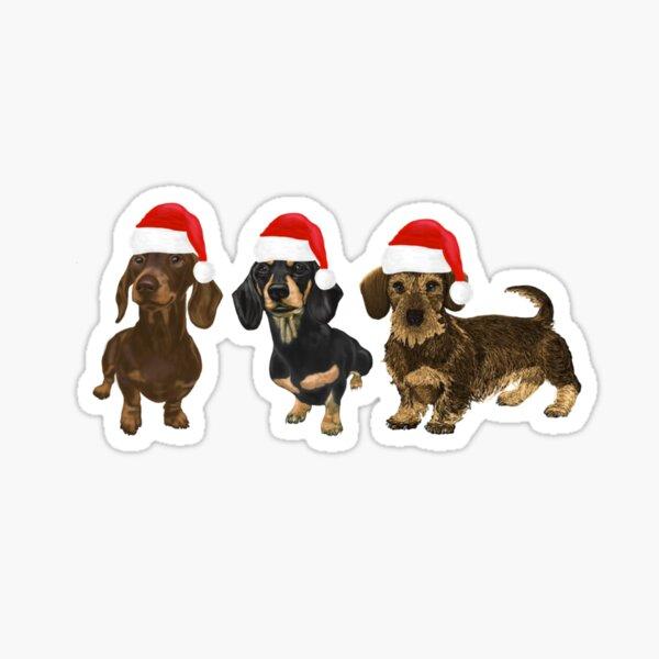 Christmas Dachshunds Sticker