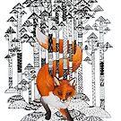 Fox winter forest by Ruta Dumalakaite
